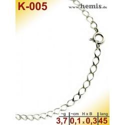 K-005 Chain, sterling silver -925, S, Rombo