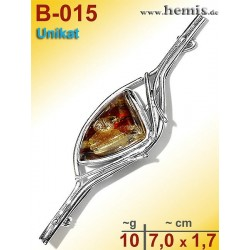 B-015 Amber Brooch, silver-925, cognac, unique, M, modern