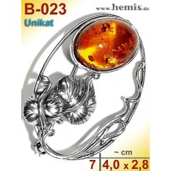 B-023 Amber Brooch, silver-925, cognac, unique, M, Leaf Decor