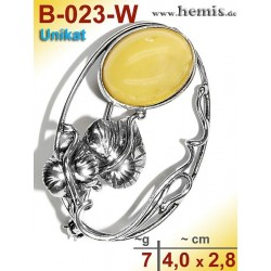 B-023-W Amber Brooch, silver-925, white, unique, M, Leaf Decor