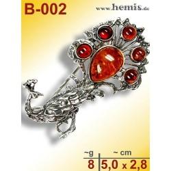 B-002 Bernstein-Brosche Silber-925, cognac,, M, Pfau, modern