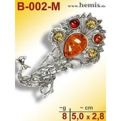 B-002-M Bernstein-Brosche Silber-925, multicolor, M, Pfau, moder