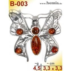B-003 Bernstein-Brosche Silber-925, cognac,, M, Schmetterling, m