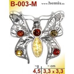B-003-M Bernstein-Brosche Silber-925, multicolor,M, Schmetterlin