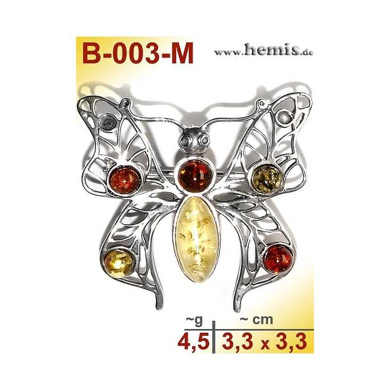 B-003-M Amber Brooch, silver-925, multicolor,M, Butterfly, moder