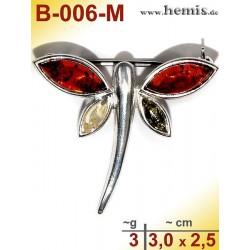 B-006-M Bernstein-Brosche Silber-925, multicolor, S, Schmetterli