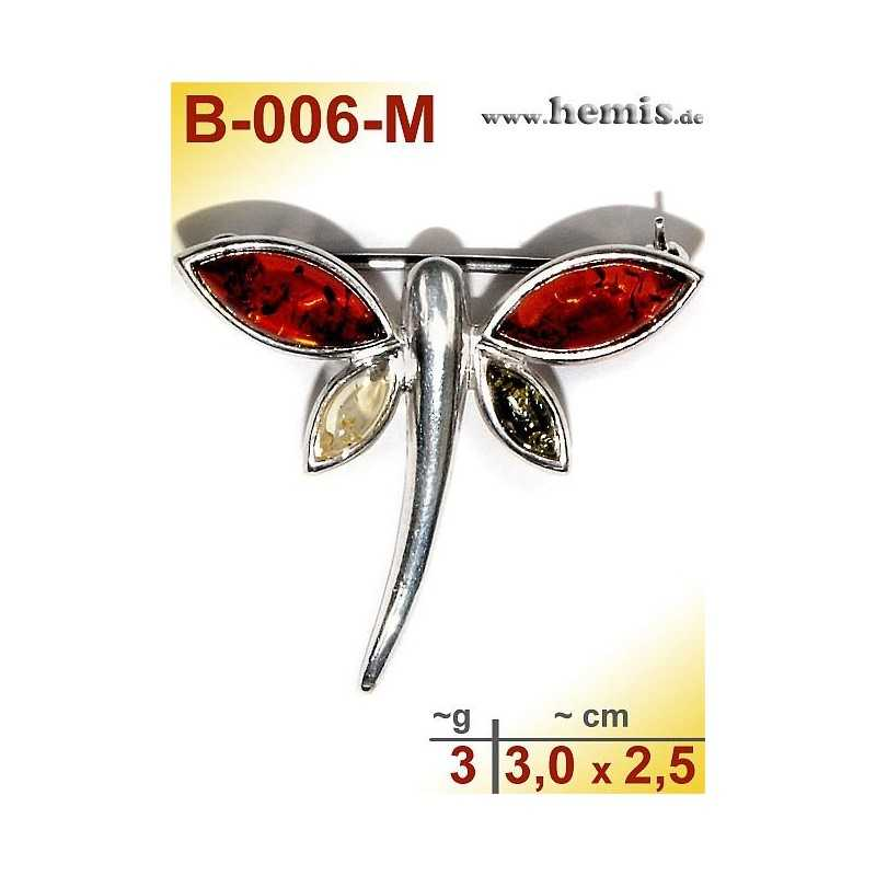 B-006-M Amber Brooch, silver-925, multicolor, S, Butterfly, mode