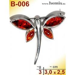 B-006 Bernstein-Brosche Silber-925, cognac, S, Schmetterling, mo