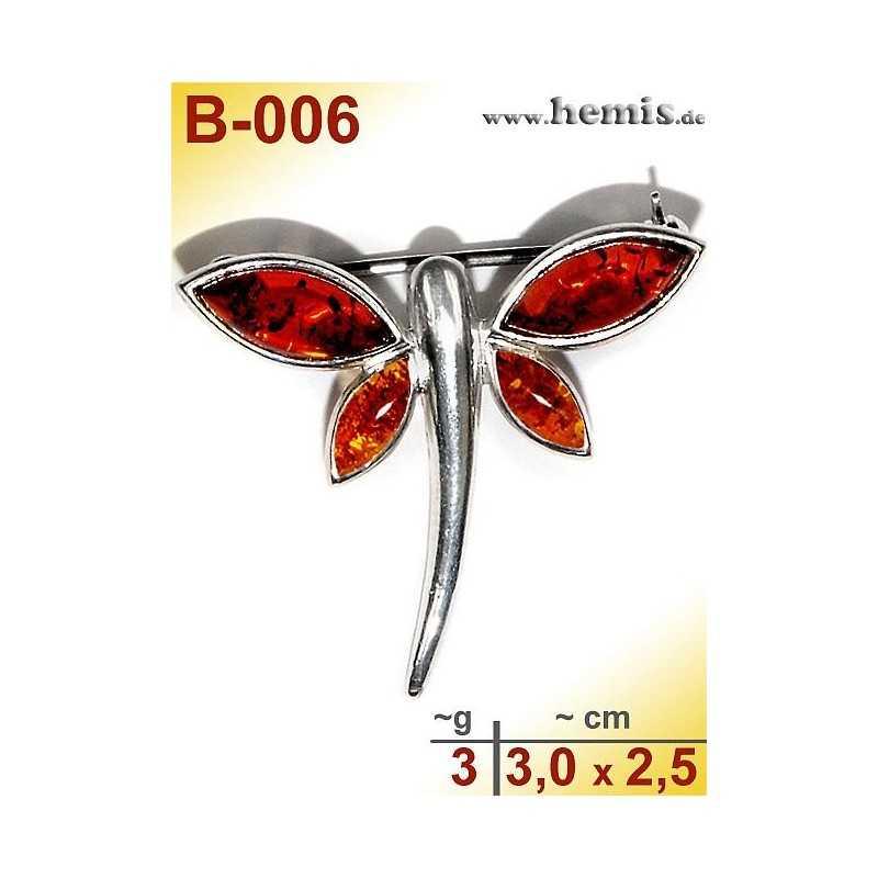 B-006 Amber Brooch, silver-925, cognac, S, Butterfly, modern