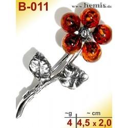 B-011 Bernstein-Brosche Silber-925, cognac, S, Blume, Blatt-Deck