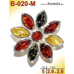 B-020-M Amber Brooch, silver-925, multicolor, S, flower, modern