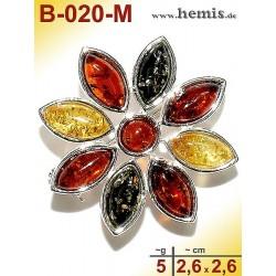 B-020-M Bernstein-Brosche Silber-925, multicolor, S, Blume, mode