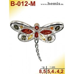B-012-M Amber Brooch, silver-925, multicolor, M, dragonfly, mode
