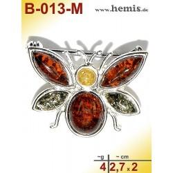 B-013-M Amber Brooch, silver-925, multicolor, S, bee, modern