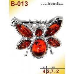 B-013 Amber Brooch, silver-925, cognac, S, bee, modern