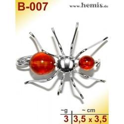 B-007 Amber Brooch, silver-925, cognac, S, spider, modern