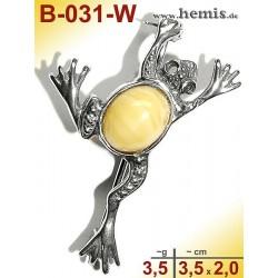 B-031-W Bernstein-Brosche Silber-925, weiß, S, Frosch, modern,