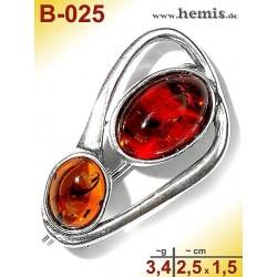 B-025 Bernstein-Brosche Silber-925, cognac, S, modern,