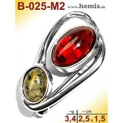 B-025-M2 Bernstein-Brosche Silber-925, multicolor, S, modern,