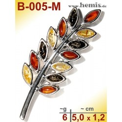 B-005-M Bernstein-Brosche Silber-925, multicolor, M, modern,