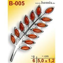 B-005 Bernstein-Brosche Silber-925, cognac, M, modern,
