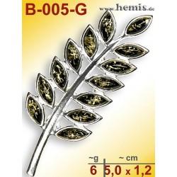 B-005-G Amber Brooch, silver-925, green, M, modern
