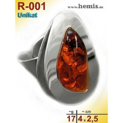 R-001 Amber Ring, silver-925, cognac, unique, L, modern, adjusta