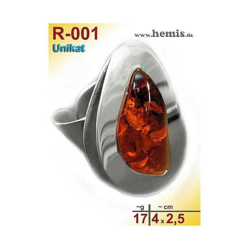 R-001 Amber Ring, silver-925, cognac, unique, L, modern, adjusta