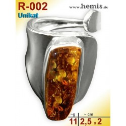 R-002 Amber Ring, silver-925, cognac, unique, M, modern, adjusta