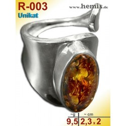 R-003 Amber Ring, silver-925, cognac, unique, M, modern, adjusta