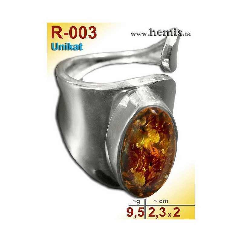 R-003 Amber Ring, silver-925, cognac, unique, M, modern, adjusta