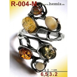 R-004-M Bernstein-Ring Silber-925, multicolor, Unikat, M, modern