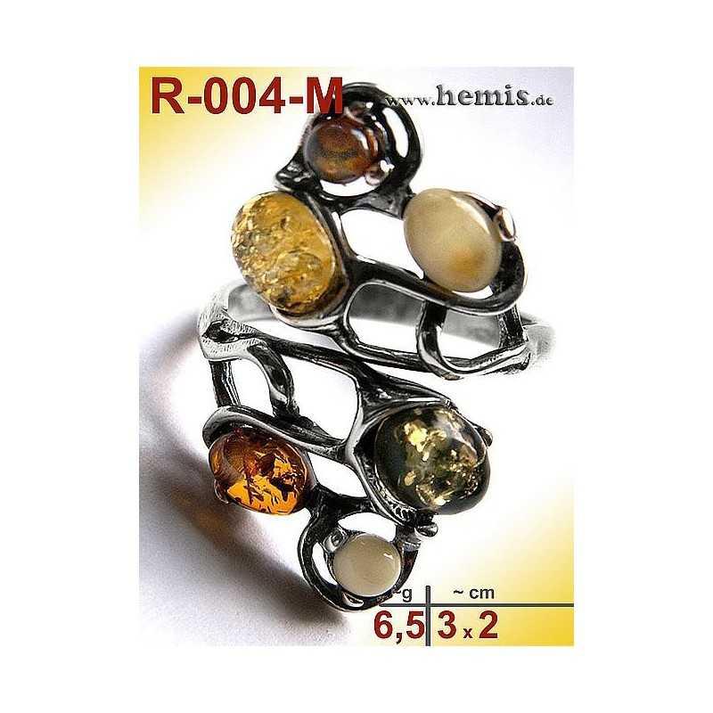 R-004-M Amber Ring, silver-925, multicolor, unique, M, modern, a