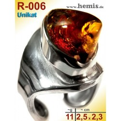 R-006 Amber Ring, silver-925, cognac, unique, M, modern, adjusta