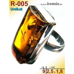 R-005 Amber Ring, silver-925, cognac, unique, M, modern, angular