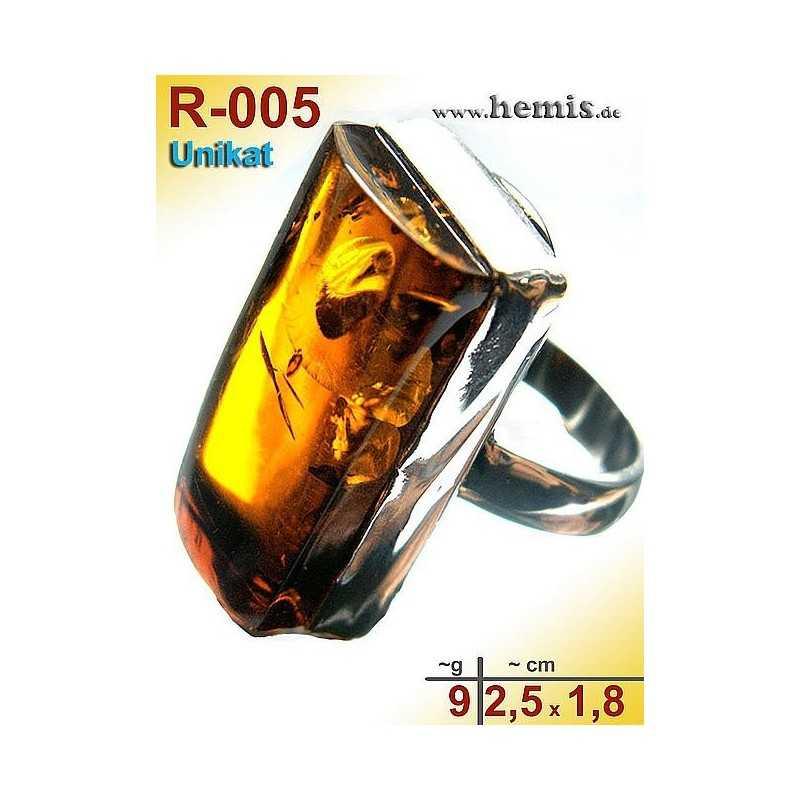 R-005 Bernstein-Ring Silber-925, cognac, Unikat, M, modern, rech