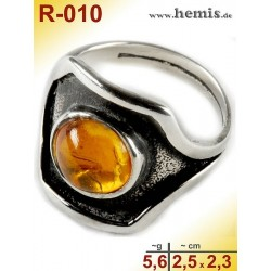 R-010 Amber Ring, silver-925, cognac, M, modern, round, old silv