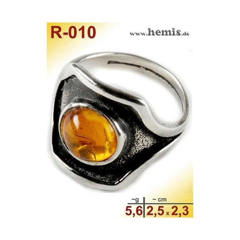 Cognac Amber Silver Ring