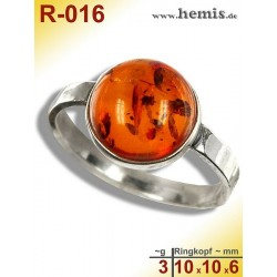 R-016 Amber Ring, silver-925, cognac, S, modern, round