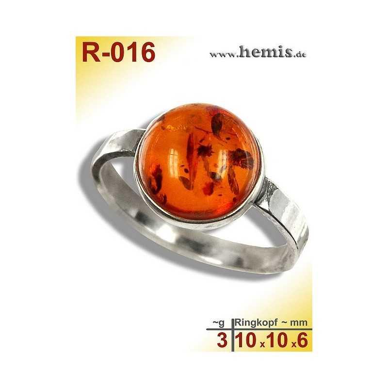 R-016 Amber Ring, silver-925, cognac, S, modern, round