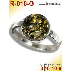 R-016-G Amber Ring, silver-925, green, S, modern, round