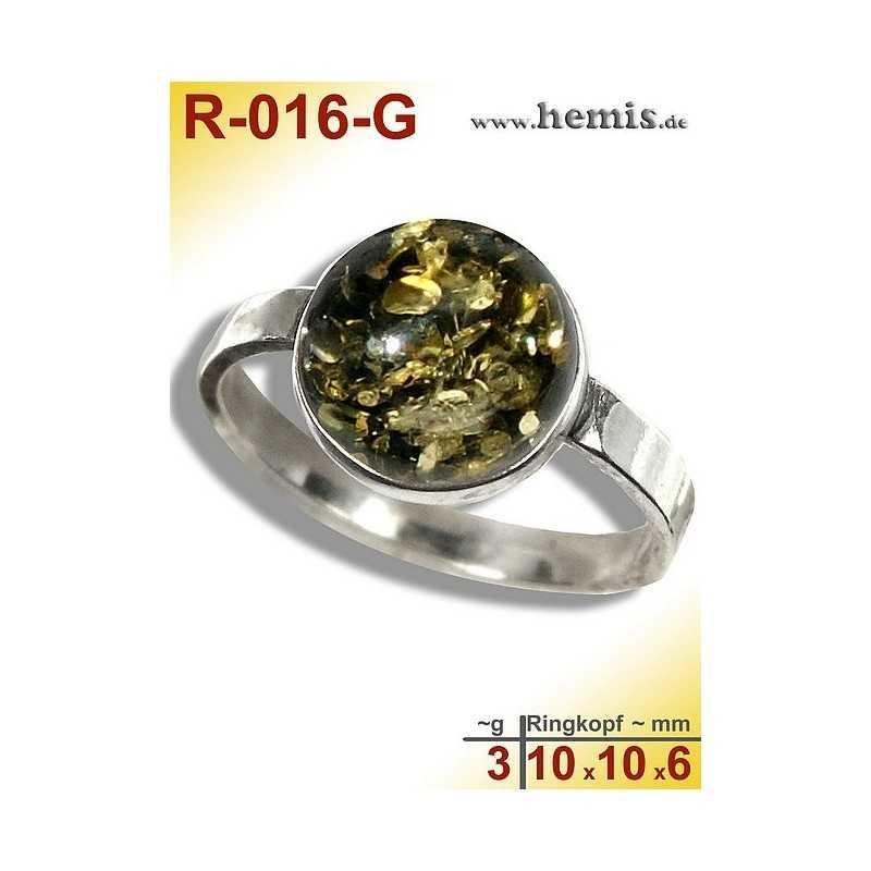 R-016-G Bernstein-Ring Silber-925, grün, S, modern, rund