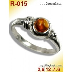 R-015 Amber Ring, silver-925, cognac, XS, modern, round