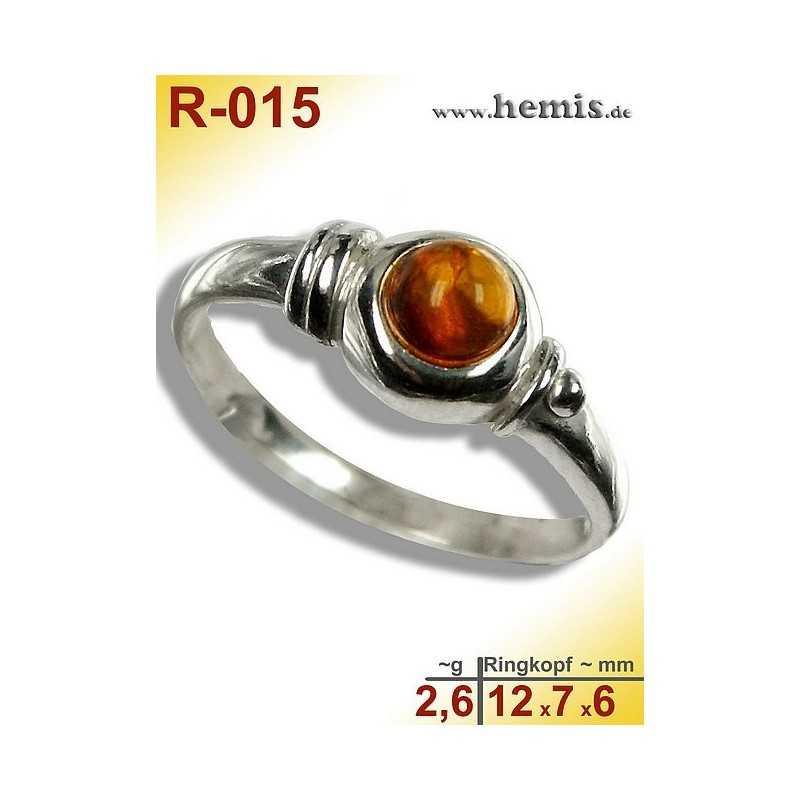 R-015 Amber Ring, silver-925, cognac, XS, modern, round