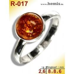 R-017 Bernstein-Ring Silber-925, cognac, XS, modern, rund