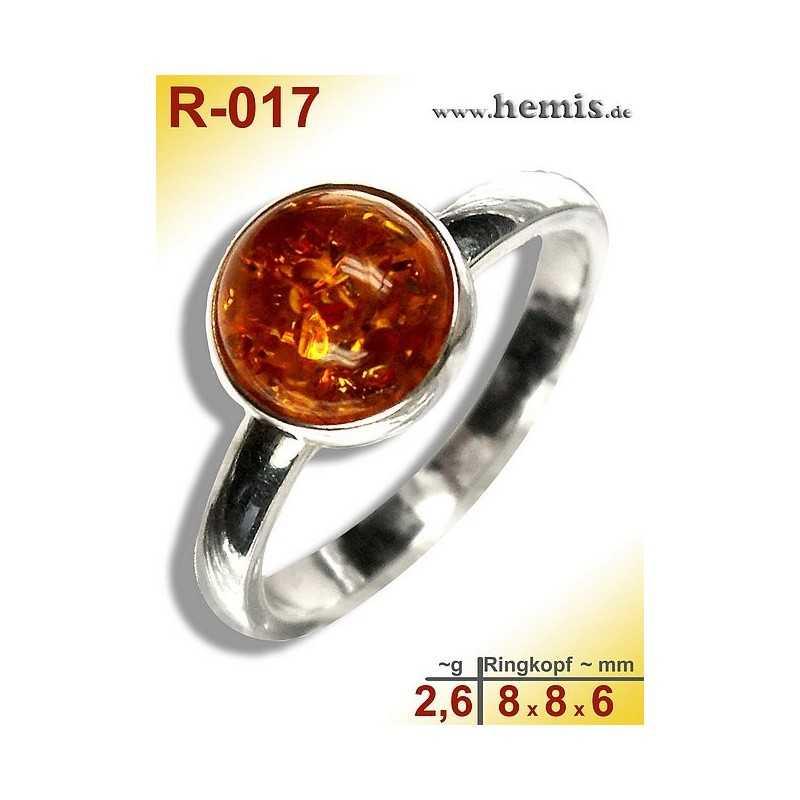R-017 Amber Ring, silver-925, cognac, XS, modern, round