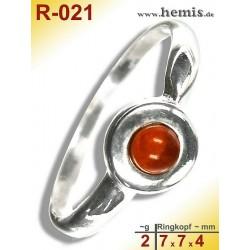 R-021 Bernstein-Ring Silber-925, cognac, XS, modern, rund
