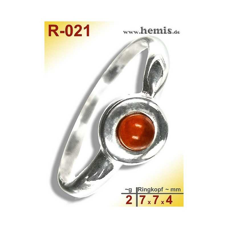 R-021 Amber Ring, silver-925, cognac, XS, modern, round
