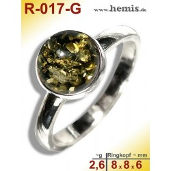 R-017-G Amber Ring, silver-925, green, XS, modern, round