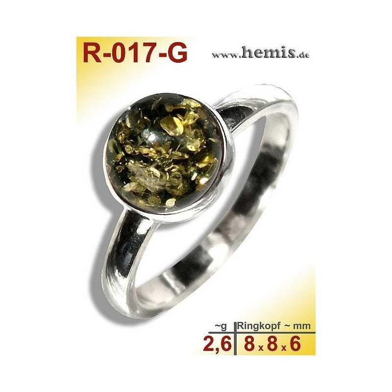 R-017-G Bernstein-Ring Silber-925, grün, XS, modern, rund
